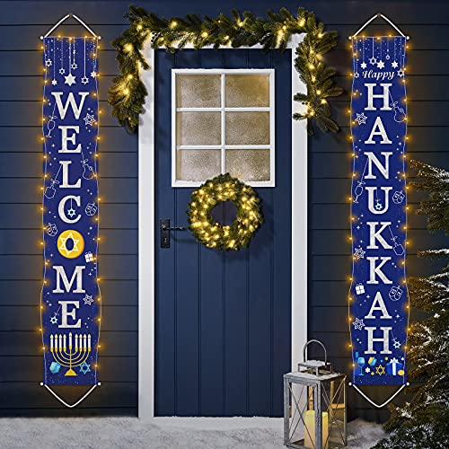 Hanukkah Decorations Banner with String Light, 72''x12'' Hanukkah Porch Sign Welcome Happy Hanukkah Front Door Banner for Chanukah Party Supplies Indoor Outdoor Decorations (NO BATTERY)