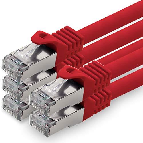 1aTTack.de 0,25m - rot - 5 Stück CAT.7 Netzwerkkabel Patchkabel SFTP PIMF LSZH Gigabit LAN Kabel 10Gb s cat7 Rohkabel mitRJ45 Stecker Cat6a kompatibel zu CAT5 CAT6 cat7 cat8