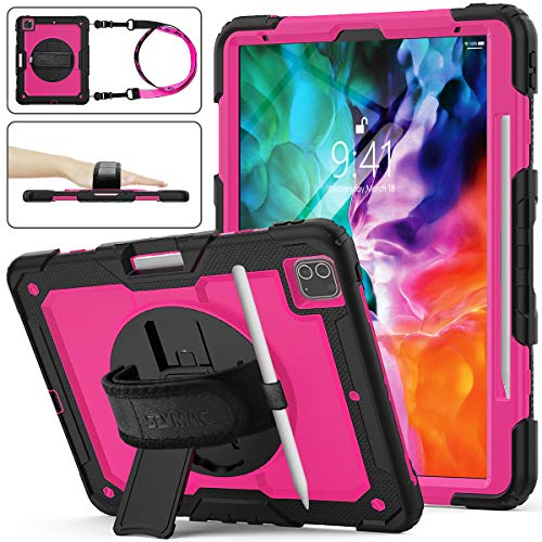 SEYMAC Stock iPad Pro 12.9 Case 2020, [Full-Body] Drop Proof &Shockproof Hybrid Armor Case with 360 Rotating Stand [Pencil Holder] Hand Strap for New iPad Pro 12.9 inch 2020/2018 (Rose+Black)