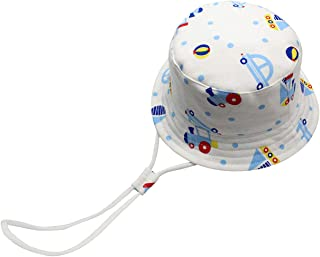 Cloudkids Bucket Sun Hat Baby Kids Toddlers 50+ UPF Cartoon Cotton Summer Sun Cap Adjustable