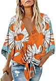 Women's Casual Floral Blouse Batwing Sleeve Loose Fitting Shirts Boho Knot Front Tops Yellow XL