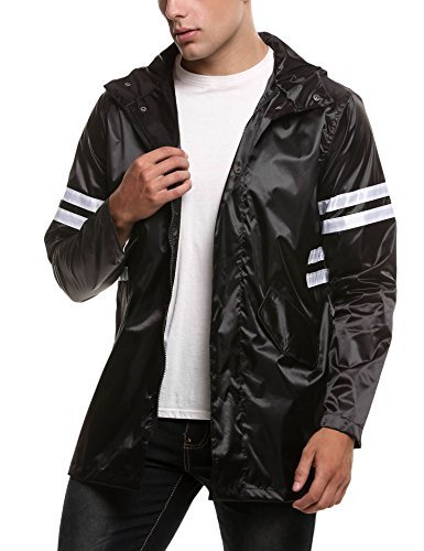 COOFANDY Men's Packable Rain Jacket Classic Cycling Waterproof Raincoat