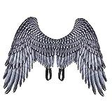 Niños Disfraz De Halloween Elegante Vestido Alas De Impresión 3D Angel Diablo Cosplay Alas para Niñas Niños Negro