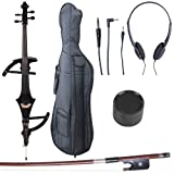 Cecilio 4/4 CECO-4BK Black Metallic Electric Cello with Ebony Fittings in Style 4 (Full Size)