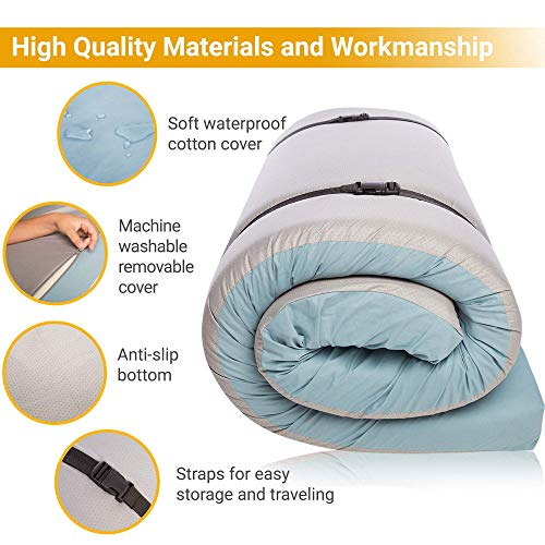 """Most Comfortable Memory Foam Roll Up Mattress Twin - Waterproof Foldable Floor Mattress for Camping - Portable Foam Sleeping Pad with Travel Straps – 75""""x 36""""x 3"""" Mat Pad Bed Roll"""