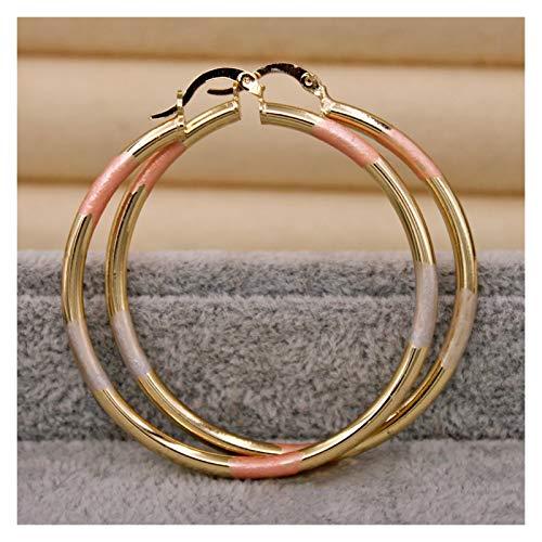 TFGUOqun Moda Pendientes de aro Vintage para Mujer Pendientes de patrón Rellenos de Oro Círculo Grande Retro Metal para Mujeres, (Metal Color : OBS5707 GD)