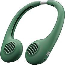 Hui Jin Ventilateur portable mains libres à suspendre avec cordon tour de cou et batterie rechargeable USB Vert