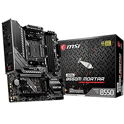 MSI MAG B550M MORTAR Motherboard mATX, AM4, DDR4, Dual M.2, LAN, USB 3.2 Gen2, Front Type-C, Mystic Light RGB, HDMI, DisplayPort, AMD Ryzen 5000 Series Processor