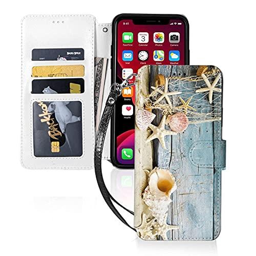 Estuche para teléfono LINGF,Estuche Seashells para iPhone 11 Estuche Lindo para Mujeres Hombres Estuche de Cuero con Billetera Estuche Protector con Correa