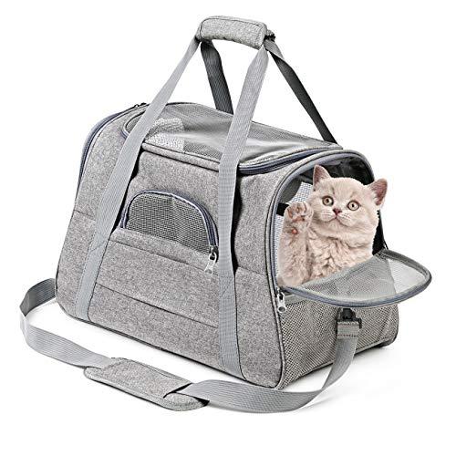 Vailge 猫 キャリーバッグ マット付き ペットキャリーバッグ 通気性 犬キャリー 3way ショルダー コンパクト 手提げキャリーバッグ ライトグレー M