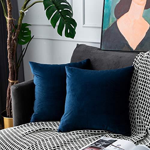 UPOPO Juego de 2 fundas de cojín de terciopelo, decorativas, de un solo color, suave, para sofá, dormitorio, salón, con cremallera, 40 x 40 cm, color azul marino