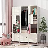 JOISCOPE MEGAFUTURE Plastic Wardrobe, Portable Wardrobe with Wood Grain Pattern,Closet for Hanging ClothesCombination Armoire, Modular Cabinet for Space Saving, Ideal Storage Organizer Cube (12-Cube)