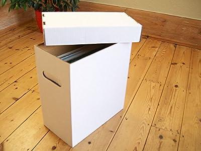 "Vinyl Lp +12"" Single White Storage Boxes X 3 - Each Holds 40-50 Records!"