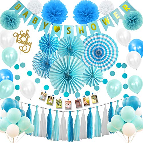 Musebits Blue Baby Shower Party Decorations Packs Essential 100Pcs All in One, Including Cake Topper, Photo Clips, Paper Fans, Pom Poms Flowers, Birthday Banner, Tissue, Paper Garland, Balloons