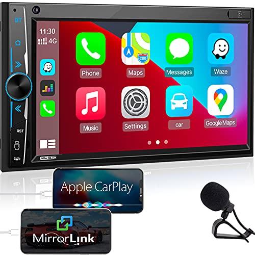 Bluetooth Car Stereo Apple Carplay: in-Dash Double Din Digital Media Receiver -7' HD Capacitive Touchscreen Monitor -Phone Link, Mic, Backup Cam, SWC, 16-Band EQ, USB/SD, A/V Input, FM/AM