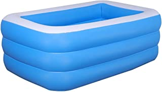 vogueyouth Piscina Hinchable Rectangular Familiar - 1.5/1.8/2.1m 3-Hoop Thickening Swim Center Paradise Seaside Pool, Easy Set Kids Piscina Infantil para niños Adult Summer Water Party
