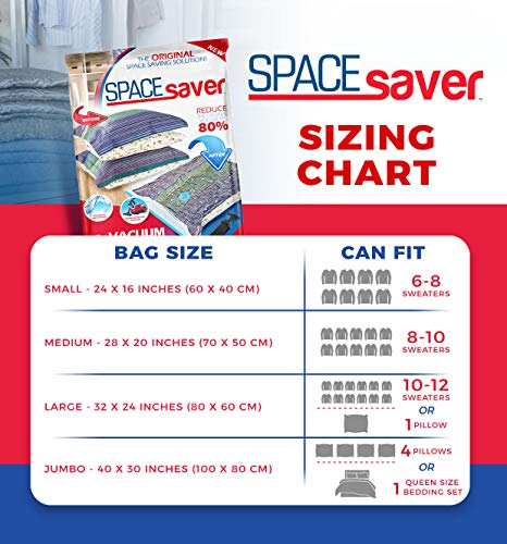 Spacesaver Premium Vacuum Storage Bags (3 x Small, 4 x Medium, 4 x Large, 4 x Jumbo), 80% More Storage Than Leading Brands, Free Hand Pump for Travel! (Variety 15 Pack)