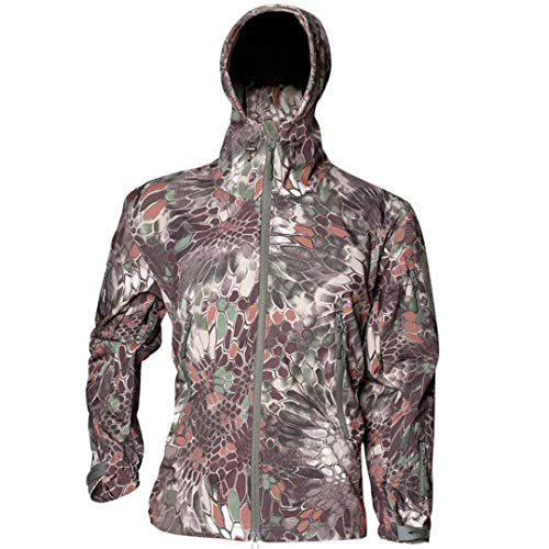 Suenkds Tactical Jackets Men Camouflage Soft Shell Waterproof Hooded Military Jacket Mountain Python M