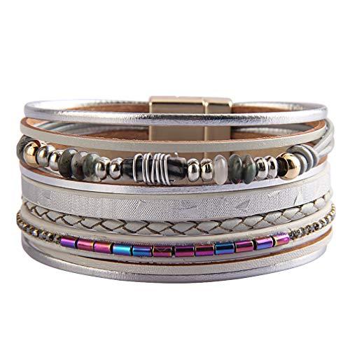 JOYMIAO Wickelarmband aus Leder, mehrlagig, Druzy Stone Cuff Armreif, handgefertigt, geflochten, mit Magnetverschluss, Grau