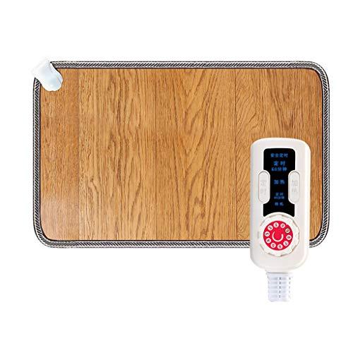 OCYE Elektrisch verwarmde voetenwarmer, voor dames en heren, elektrisch met snelle opwarming, timer, temperatuur instelbaar, carbonkristal, houten strips