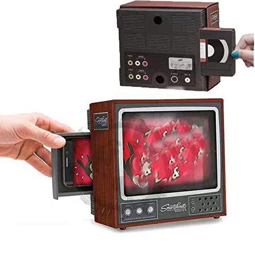 HHKX100822 HD 3D Retro TV Soporte para TeléFono Soporte para TeléFono, Lupa para Pantalla De TeléFono, Mini Televisor con Soporte Plegable para Cualquier Video De PelíCula De TeléFono Inteligente A