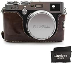 kinokoo Camera Leather Half Case Bottom Case for Fujifilm X100F Leather Bottom open-able  coffee
