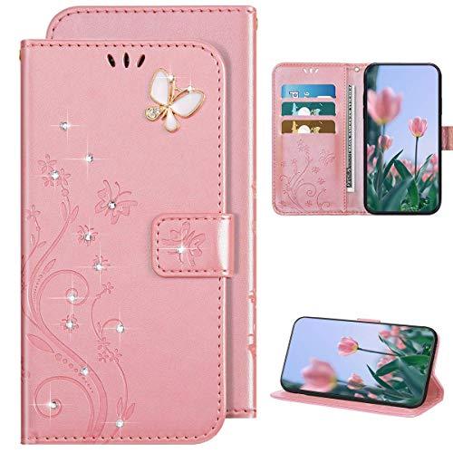 Kompatibel mit Samsung Galaxy A51 Hülle Leder Tasche Flip Case Glitzer Bling Diamant Brieftasche Schutzhülle,Schmetterling Blume Muster Klapphülle Handyhülle mit Kartenfächer,Roségold