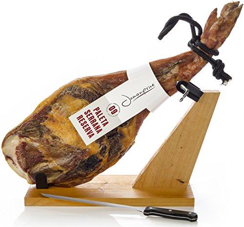 Prosciutto Spagnolo Serrano (Spalla) Riserva Semidisossato 4 - 4.5 Kg + Porta Prosciutto + Coltello - Jamon Serrano