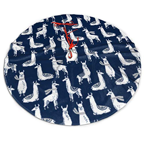 NiWCGP Navy Fabric Llama Christmas Tree Skirt, 48 Inches Tree Skirts for Party Holiday Decorations Xmas Tree Mat Ornaments Indoor Outdoor