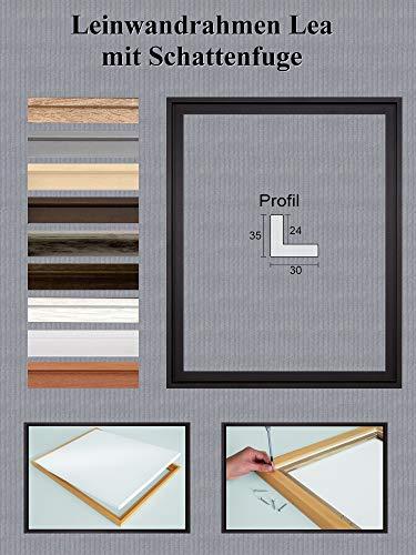 Lea MDF Leinwandrahmen mit Schattenfuge 30 x 40 cm Größe frei wählbar erhältlich in 10 Farben Hier Schwarz