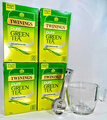 Twinings té verde descafeinado puro 4 cajas, 80 bolsitas de té con exprimidor de bolsa de té y taza de vidrio