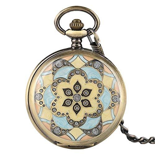 DZNOY Reloj de Bolsillo, Relojes de Bolsillo mecánico Colgante de Cristal para Las Mujeres Lady Girls Regalos Mano Sinuoso Enfermera Reloj Bonita Funda de Flor con Cadena Reloj de Bolsillo