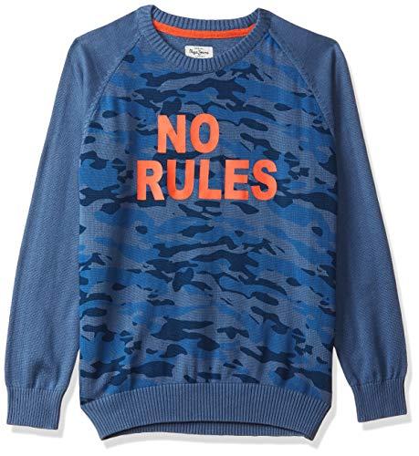 Pepe Jeans Boy's Cotton Sweater (PB701041_Blue_14-15 Years)