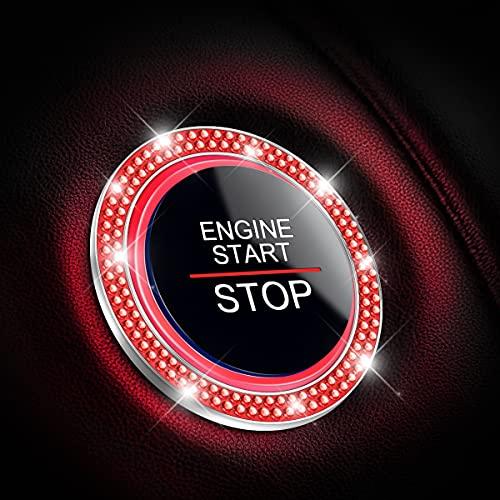Car Bling Crystal Rhinestone Engine Start Ring Decals, 2 Pack Car Push Start...
