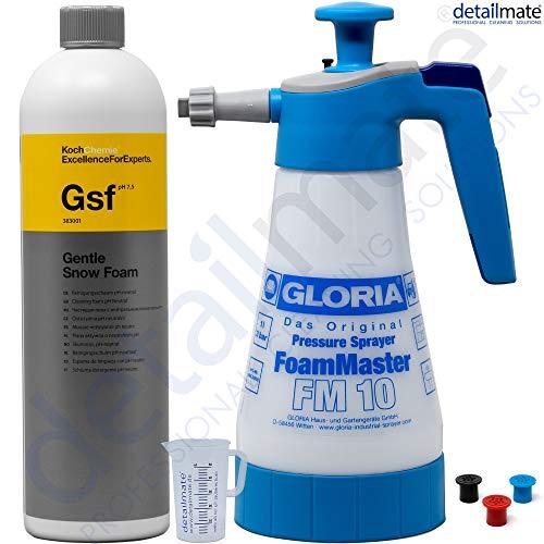 detailmate Gloria FM10 Pulvérisateur Mousse Foam Master 1 l + Koch Chemie Gentle Snow Foam 1 l + Verre doseur 50 ML