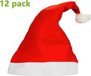 Yansanido 1 Dozen(12pack) 15'' Adult Santa Hat Traditional Red and White Felt Hats Christmas Santa Hat