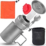 Titanium Backpacking Cooking Set, Camping Cookware - 6pc Backpacking Mess Kit - Titanium Spork, 450ml Titanium Pot with Lid, Titanium Stove for Camp Coffee or Instant Camping Food in Titanium Mug Cup