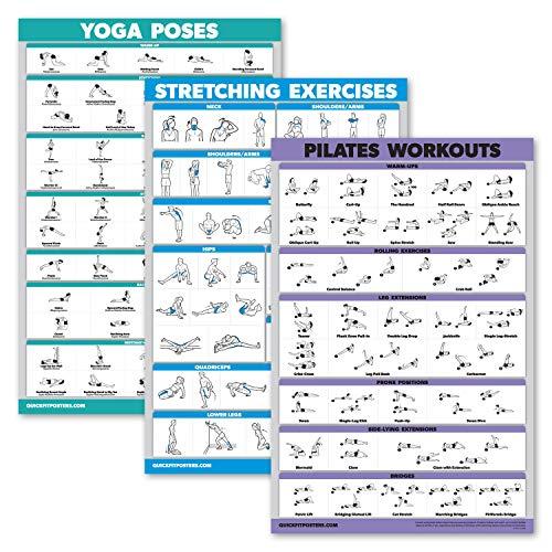 QuickFit Yoga-Posen + Dehnübungen + Pilates-Matte, Arbeitsposter Set mit 3 Workout-Diagrammen (laminiert, 45,7 x 68,6 cm), 3 Stück