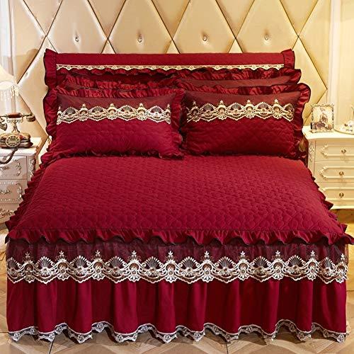 HAOLY Bettrock Tagesdecke Bett setzt Protector,Koreanische Version einfarbig gesteppt verdicken halten warm Spitze-B 180x200x45cm(71x79x18inch)
