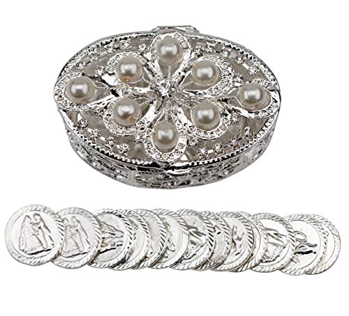 Details and Traditions Wedding Unity Coins - Arras de Boda - Oval Shaped Chest with Pearl Beading - COF JC 006(Silver)