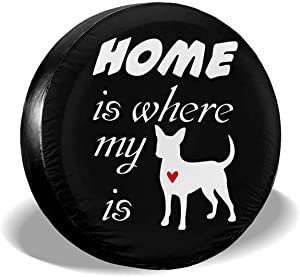 BUDAOWENG Home is Where My Dog is Tire Cover for Truck RV Trailer ect 14