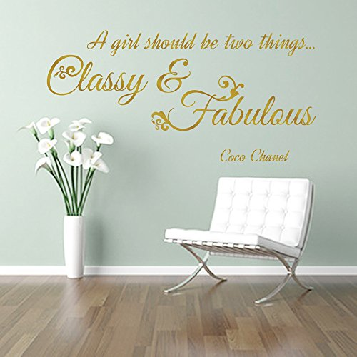 CLASSY en FABULOUS meisje CC Coco Chanel mode citaat muur kunst sticker decal woorden, GOLD (METALLIC), 85x41 cm