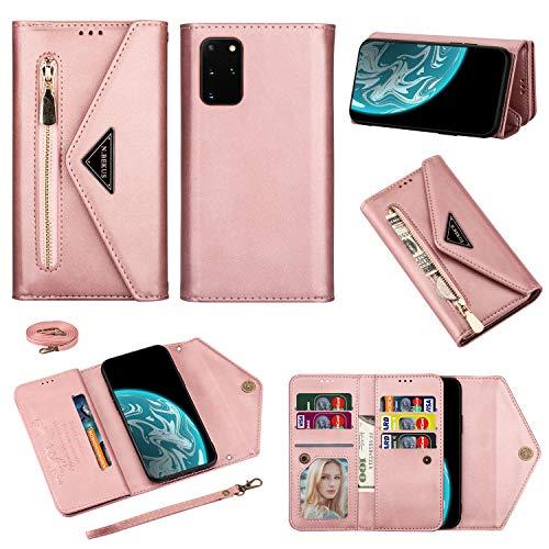 Funda para Galaxy A72 Samsung A72 5G con cremallera de piel, funda tipo cartera, funda de parachoques para mujer y niña (oro rosa)