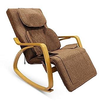 Massage Chair Rocking Massage Chair w/Air Compress 3D Shiatsu Massage Height Adjustable Massage Pillow 8 Mode Full Body Massage Vibration Heat Recliner Kneading Tapping Rolling for Full Body