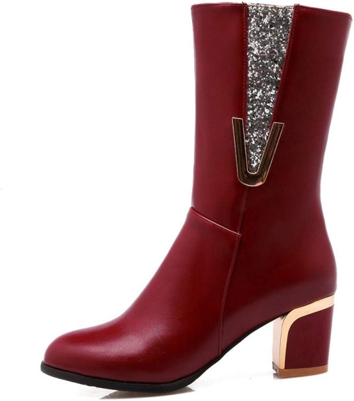 Unm Women's Fashion Zip Mid Heel Half Boots
