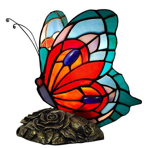 ADM - Dekorative Nachttischlampe im Tiffany-Stil aus dekoriertem Glas in Form eines Schmetterlings, Serie Animals, mehrfarbig rot und blau, Größe 21 x 21 x 15 cm - AB08019