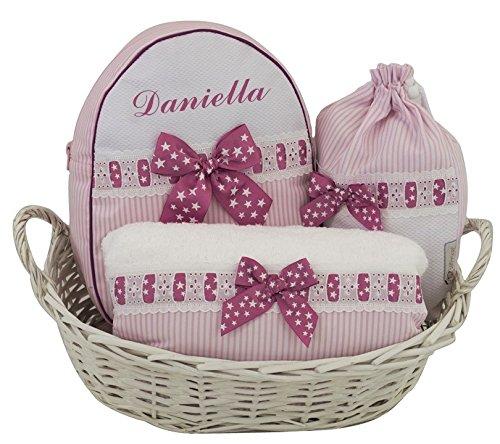 Canastilla PETIT regalo para recién nacido PERSONALIZADO CON EL NOMBRE DEL BEBÉ, ideal como regalo de nacimiento, bautizo o baby shower. Modelo canastilla Sabela. Varios colores disponibles (Rosa)