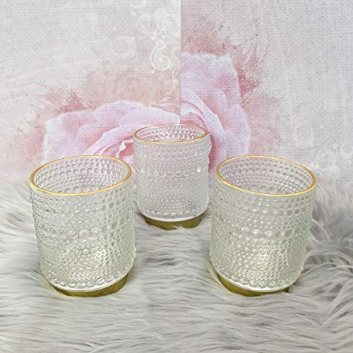 Flexible BV Teelichthalter Relief Kerzenständer Teelichtglas Windlicht Dekoration 3er Set