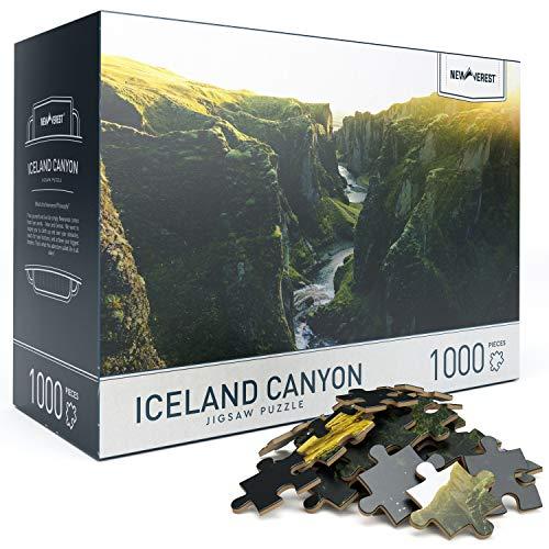 """大人のためのジグソーパズル6歳以上の1000ピース、写真家からのユニークな画像を使用した教育上の難しいパズル-大きな27.5""""x 19.7""""、ギフトパッケージ収納ボックスを含む-アイスランドキャニオンパズル"""