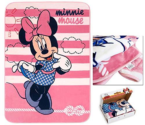 ARREDIAMOINSIEME-nelweb Coperta vellutata Minnie Disney Alta qualità 110x140cm Morbidissima per Culla Letto Divano con Scatola